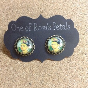 Frida Kahlo Glass Domes with Brass Petals Brass Studs. Frida Kahlo Inspiration with portrait selfie-Earrings