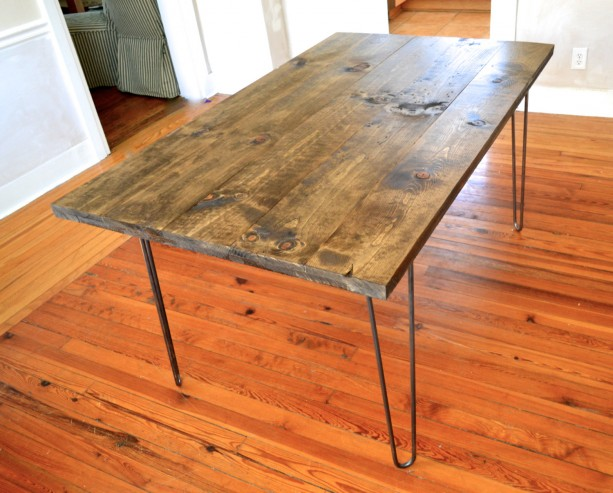 The Lee Pine Wood Dining Room Table With Hairpin Legs Aftcra