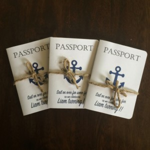 Passport, Nautical Birthday Invitations- Anchor invites- Sailing invitions- set of 15