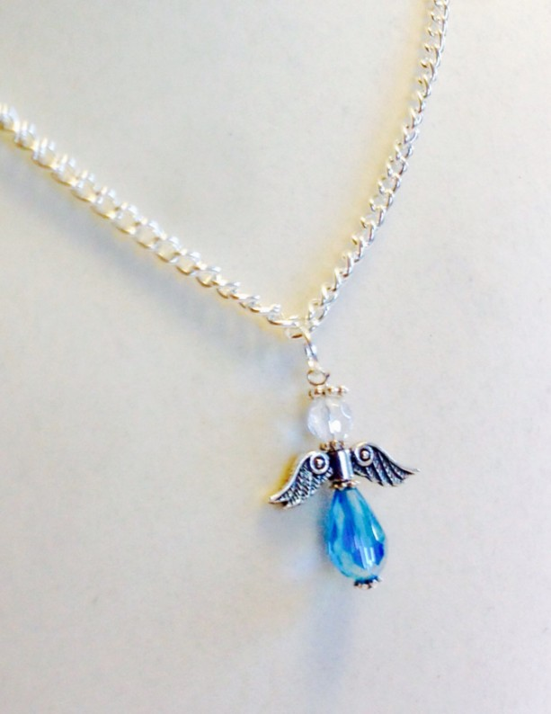 Blue Angel Necklace, Handmade Chrystal and Silver Beaded Angel Charm, 21 Inch Christmas Necklace, Confirmation Gift, Godmother Gift