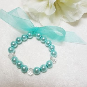 Aqua  or Pink Glass beaded pearl bracelet | Flower girls bracelet | bridesmaids bracelet |  wedding corsage