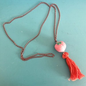Upcycled Peach Fruit Eraser Toy with Tassel Necklace - Peach Emoji Jewelry - Tassel Necklace - Upcycled Toy Necklace - Fuzzy Peach Fruit