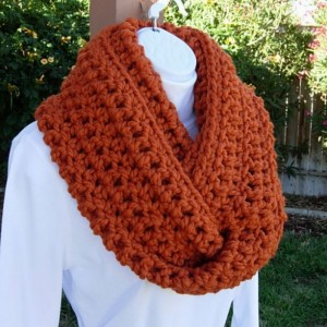 Large INFINITY SCARF Cowl Loop Pumpkin Solid Orange, Color Options, Bulky Chunky Wide Soft Wool Blend Crochet Knit Winter Circle Big Wrap, Ships in 5 Business Days