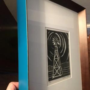 Windmill- 2/3 Original Linoleum Print