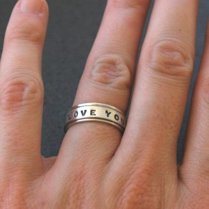 Handmade Spinner Ring in Sterling Silver - Say what YOU want - in Uppercase Block Font