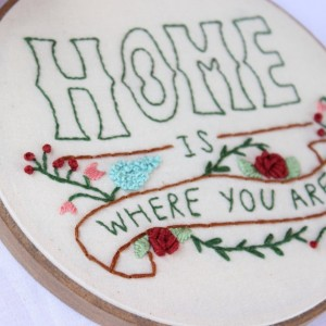 Home is Where You Are Embroidery Hoop Art