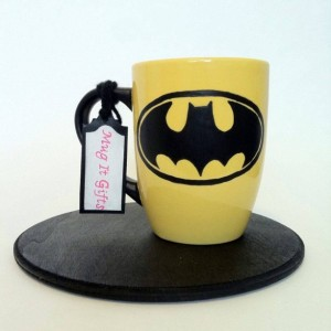 Batman Hand Painted 12oz Yellow Ceramic Coffee Cup Mug
