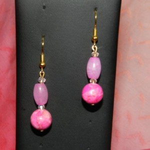 Pink Malay Jade and Howlite Earrings A11282