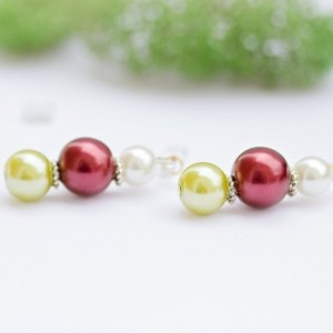 Christmas pearl earrings/Green, red and white with tibetan silver spacers/Nickel free fish hook/Festive/gift/present/Under 20 dollars