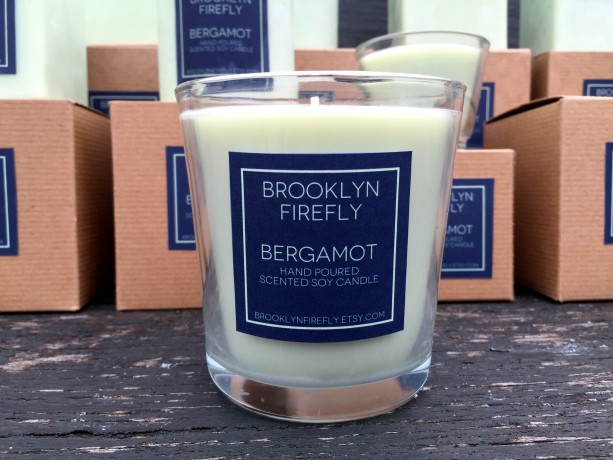 Bergamot Candle. Scented Soy. Reusable 13 Ounce Glass Tumbler.