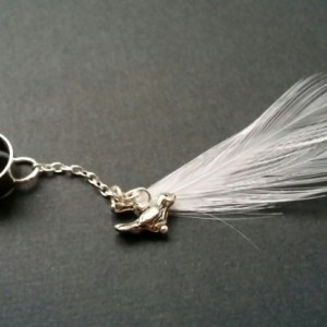 White Feather Ear Cuff W/ Bird Charm - White Feather EarCuff - Ear Cuff - Earring