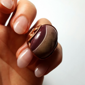 Mookaite Jasper Ring Size 7 - 8, Handmade Statement Rose Copper