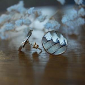 Basket Weave Pattern Button Stud Earrings