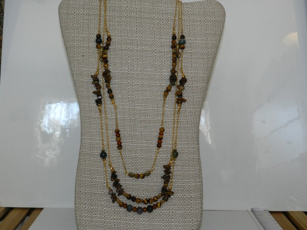 Three Strand Tiger Eye and Jasper Necklace A01368
