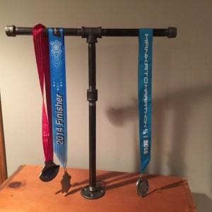 Running Medal Holder industrial black pipe Marathon, 26.1, Half Marathon, 13.1, 10 K, 5 K, Sprint Tri, Tri,Iron Man Medal Display Stand/Rack