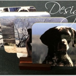 Custom Photo Personalized 4 Coaster Set & Wood display base.  Great for weddings, Christmas, gifts and give-aways!