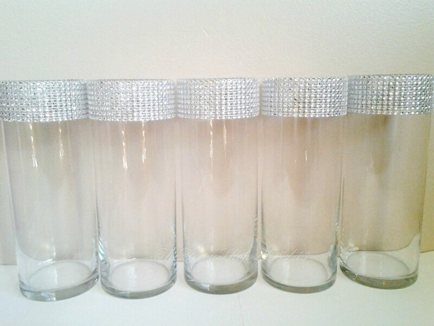 Glass Cylinder Vases Bling Wedding Centerpieces Silver Rhinestone Tall Vases Bling Bouquet Candle Holders Shower Party Bling Decor 5 Pc