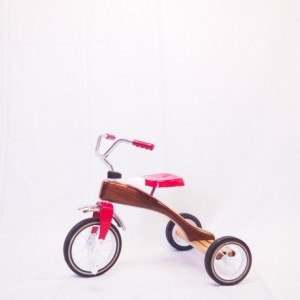 Handbuilt wooden tricycle