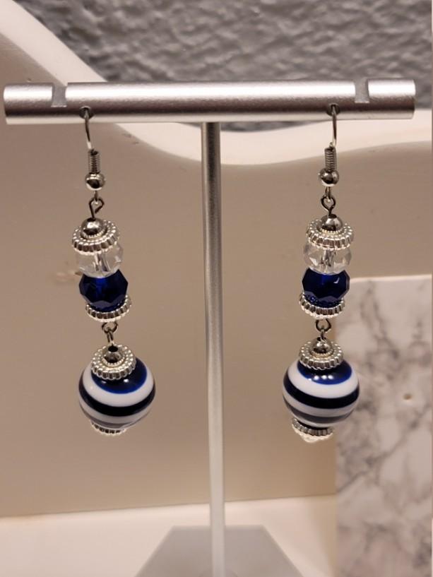 Blue and white bead earrings