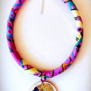 Afrocentric African Queen Tribal Necklace, Afrocentric Fabric Necklace, Afrocentric Ankara Necklace, African Tribal Necklace, African Print