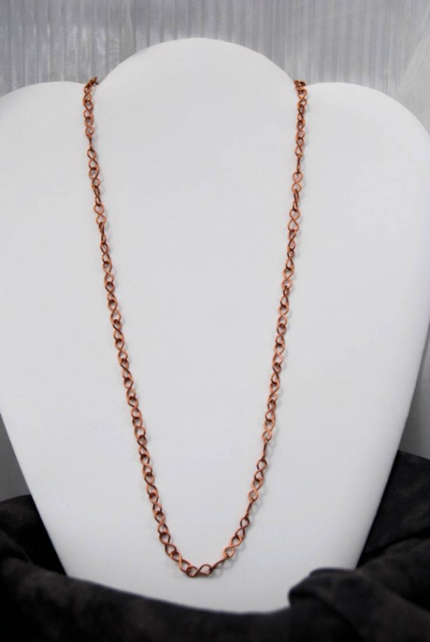 Solid Copper Chain - Figure  8 style, Completely Hand Crafted  Copper Necklace