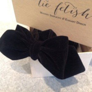 Velvet black freestyle or pre tied hook bow tie