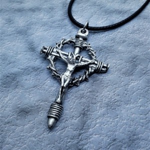 Large 2-1/4 inch Crown and Nails Crucifix Necklace