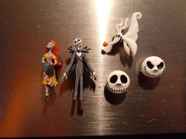 Magnets, 5 Strong Refrigerator Magnets, Cubicle Decor, Locker Magnets, Office Supply,Nightmare Before Christmas, Tim Burton