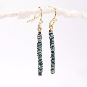 Thin Green Hematite Slice Bar Earrings