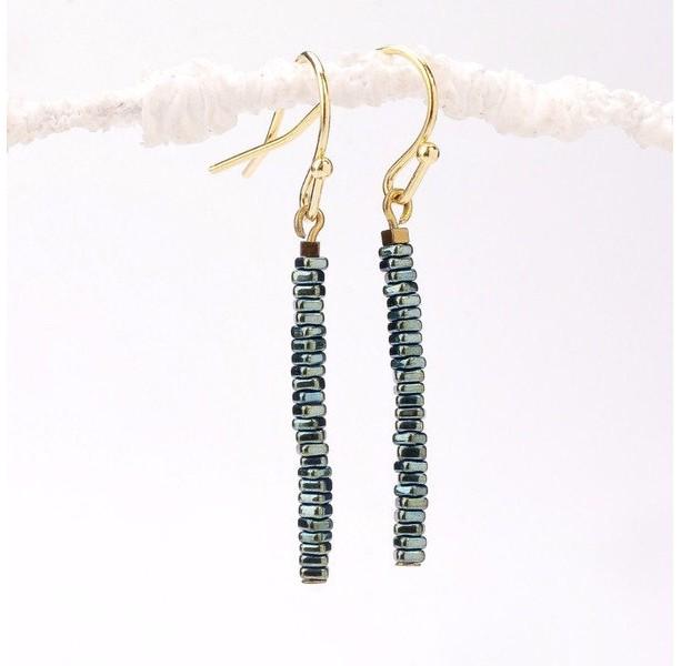 Thin Green Hematite Slice Bar Earrings