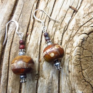 Silver Plated Earrings with Wooden Beads