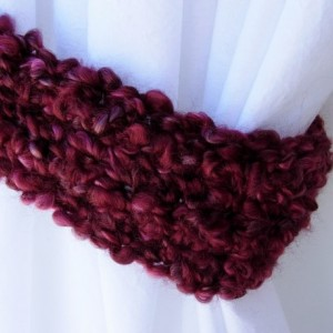 One Pair of Dark Wine Red Curtain Tiebacks, Burgundy Curtain Tie Backs, Drapery Drapes Holders, Soft Crochet Knit, Ready to Ship in 3 Days