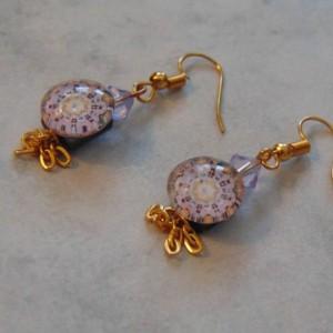 Purple Floral Design Iridescent Square Shell Back Purple Swarovski Crystal Golden Tassel Golden Dangle Drop Earrings