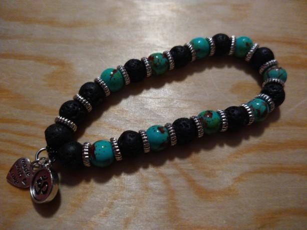 Chakra and lava bead bracelet