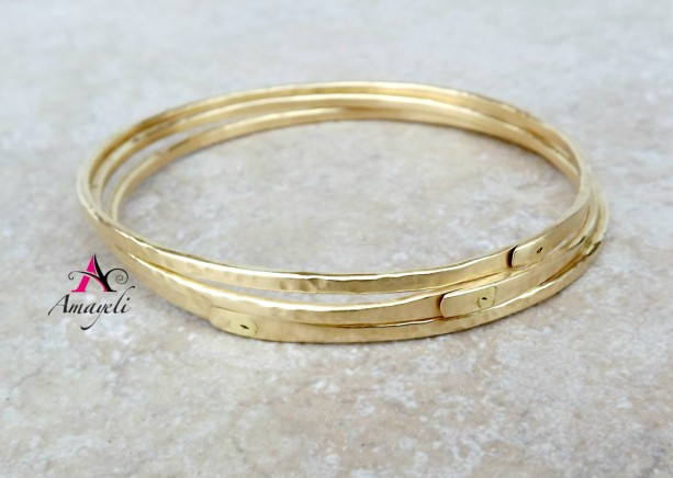 Set Of Three Br Bangle Bracelets Stacking Bracelet Charm Gold Bangles