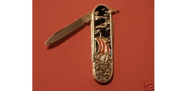 Viking Dragon ship Gents sterling silver handled pen knife