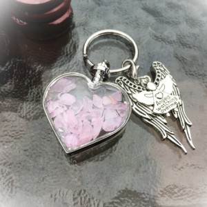 Rose Quartz Wishing Bottle Crystal Chips, Wings, Angels Watching Over Me Keyring /Keychain