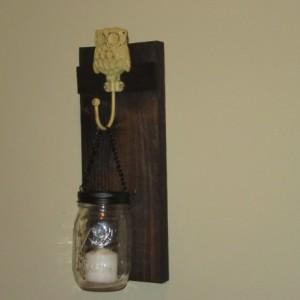 Rustic Owl Mason Jar Wall Sconce,  Mason Jar Candle Holder, Wall Sconce with Owl design hook