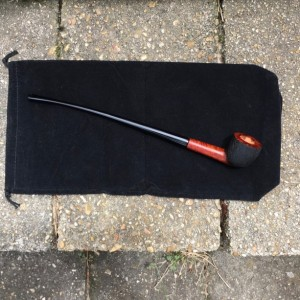 Churchwarden Tobacco Pipe #50 Partial Brushed Rustication