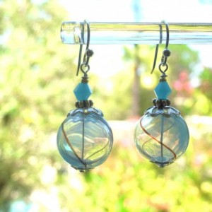 Earrings Aqua Color Hollow Glass Beads Handmade Hand Blown Blue Summer Clear Black Line Round Drop Dangle