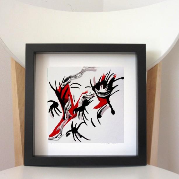 Abstract Framed Art, Small Primitive Art, Framed Ink Art, Small Surreal Art, Mixed Media Artwork, Wall Art Framed, Abstract 6 x 6 Art Framed
