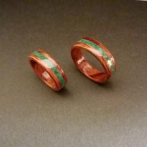 Hand Made set of 2 (Bentwood Method ) Bubinga Waterfall Inlayed Malachite Wooden Ring