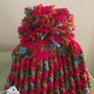 Handmade crochet multicolored beanie with Pom Pom