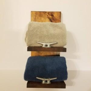 Rustic Nautical Towel Rack, Two Shelf, Bathroom Decor