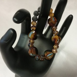 Facet Tiger Crystals Beads w/Lava Stone Diffuser Bracelet
