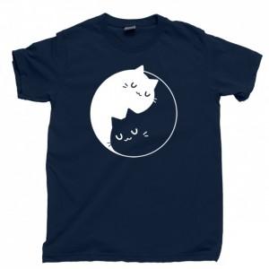 Yin Yang Cats T Shirt, Feline Animal Lover Purrfect Kitty Cat Lady Men's Unisex Cotton Tee Shirt