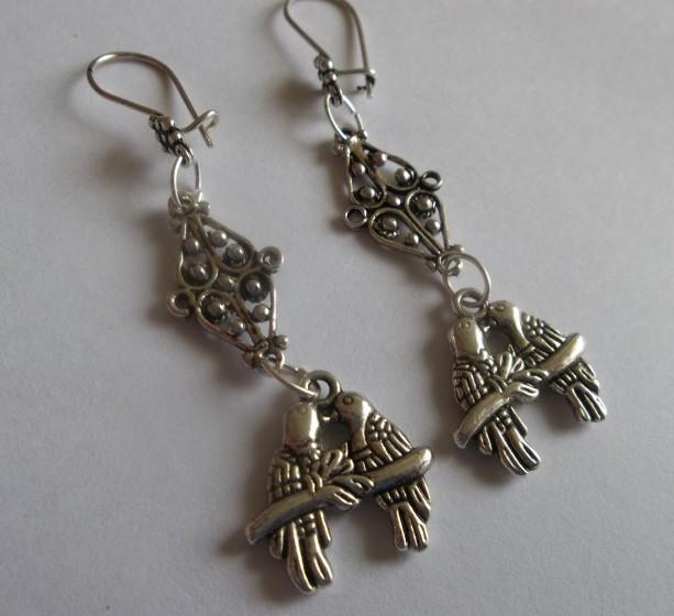 kissing love birds earrings