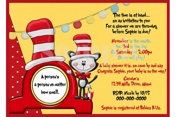 DIY Printable Dr Seuss Inspired Baby Shower Invitation
