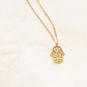 Gold hamsa necklace, cz hamsa, gold hand necklace, hand pendant, gold hand pendant,