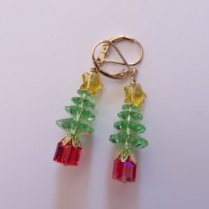 Bethlehem Star Christmas Tree Earrings